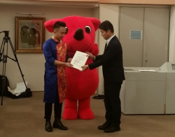 ビジネス法学科2年生グエン チュン ミン ユンさんが、2018年度チーバくん大使に任命されました。